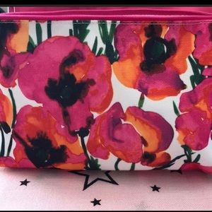 NWOT Clinique poppy cosmetic bag
